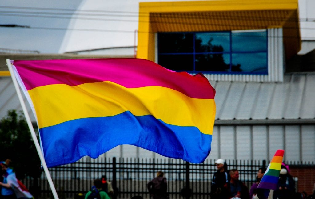 Pansexual pride flag baing waved in the street at a march, a smaller rainbow hand flag can be seen to the right. the background is a blurry street, with large window visible from the building behind.